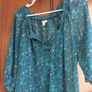 Gorgeous Turquoise/floral semi-sheer top